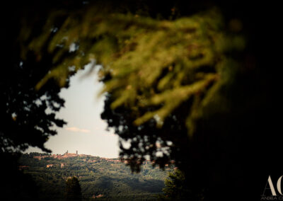 View of Volterra from the villa wedding in Tuscany Andrea Corsi