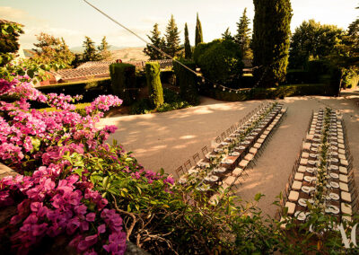 wedding tables view from above villa san gimignano