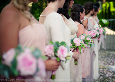 PInk bridesmaids bouquets tuscany wedding